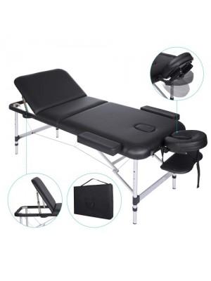 Massagebriks, aluminium, 3 sektioner, sort
