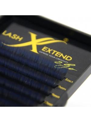 2 Colour Fade Lashes Black-Blue, D curl mix, 8-14, 0.15 mm