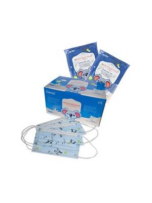 Mundbind til børn, lyseblå med figurer, 50 stk