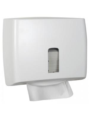 Dispenser til nonstop håndklædeark, hvid, inkl. 5 pakker papir